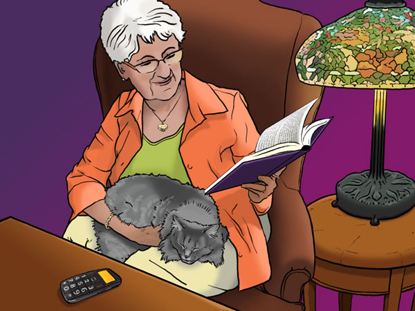 An older woman sits with her cat on her lap, reading a large print book