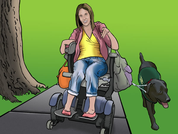 A young woman in a motorized wheelchair, walks with a service dog.