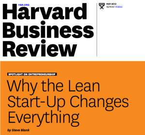 Cover page for HBR article about Lean Startup by Steve Blank