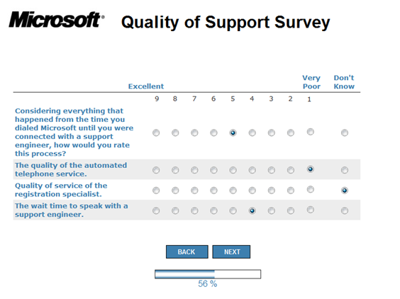 Image of a Microsoft Customer Service Quality survey