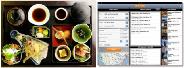 The Kayak application for the iPad uses the bento box pattern. Small pieces of tightly related information are displayed on the screen at one time, allowing the user to see the interrelationships of information easily.
