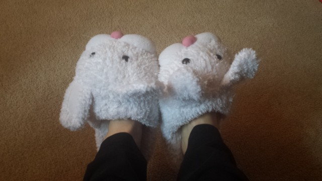 Laura Klein's bunny slippers