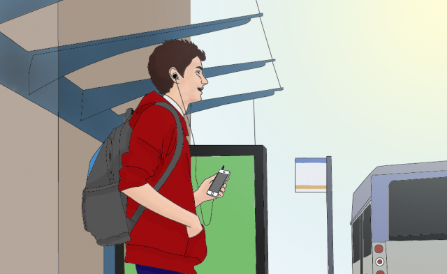A young man with a backpack, listening to a mobile device, waiting at a bus stop