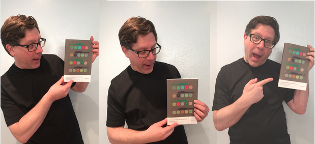 Author Steve Portigal posing with his book Doorbells, Danger, and Dead Batteries